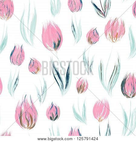 Spring seamless pattern with oil painted pink tulip flowers design elements. Floral pattern for wedding invitations greeting cards scrapbooking print gift wrap manufacturing