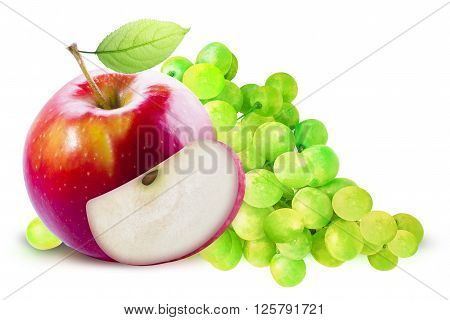 Red Apple and green grapes on white background. Grape and apple with clipping path. Red apple with leave. Red apple with slice. Green grape and red apple composition. Grape and apple clipping path.