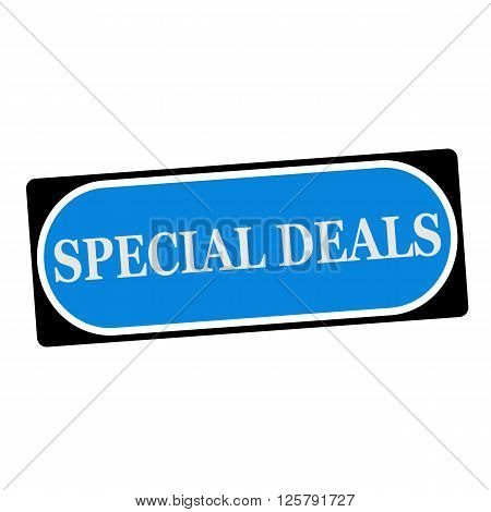 special deals white wording on blue background black frame