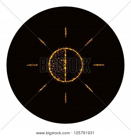 Brightness icon silhouette of gold lights on black background. Neon vector icon