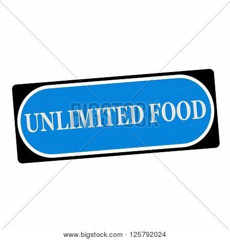 unlimited food white wording on blue background black frame