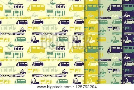 Vector seamless pattern set with hand drawn cars. Bus train trolleybus tram. Cartoon colored transport collection for brochures posters greeting cards flyers.