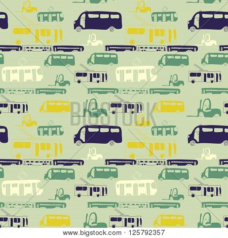 Vector seamless pattern with hand drawn cars. Bus train trolleybus tram. Cartoon colored transport design for brochures posters greeting cards flyers.