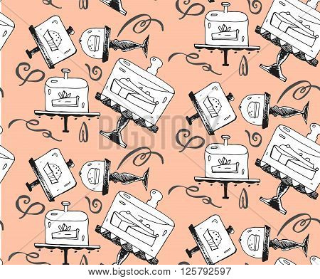 Seamless hand draw pattern with pieces of cakes cake stands and twirls in doodle vintage style. Hand drawn vector illustration.It can be used for signage logos branding product launches.