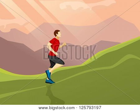 Poster with flat icon of man running alone up the hill on the landscape background vector illustration