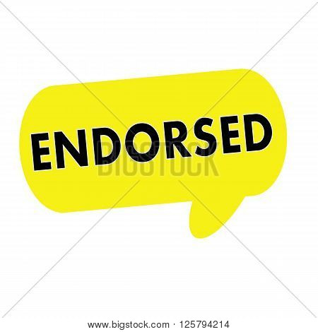 ENDORSED wording on Speech bubbles yellow rectangular