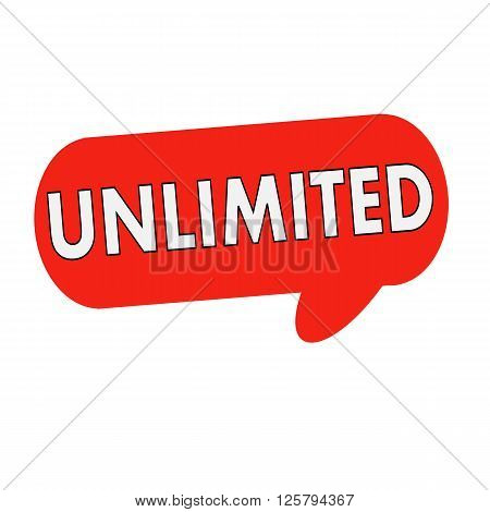 unlimited wording on Speech bubbles red cylinder