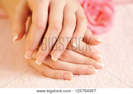 Closeup Image Of Pink French Manicure