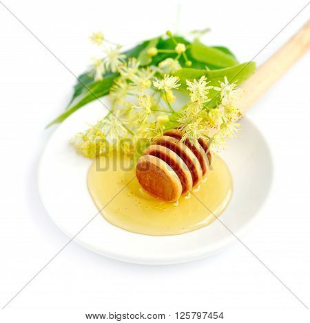 Honey dipper with honey with flowers of linden on white saucer