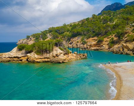 cap des pinar majorca with mediterranean beach and rocky coast