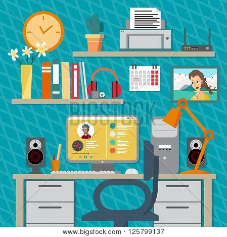 Flat modern design vector illustration concept of home workspace, workplace, desktop. Home work flow items, essentials, things, equipment, elements, objects, development tools. Room interior