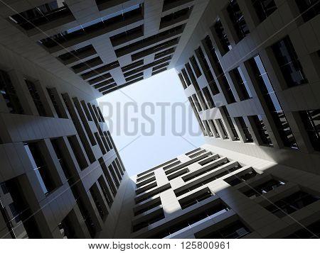 Dark Inner Courtyard Tall Modern Office Tower 3D