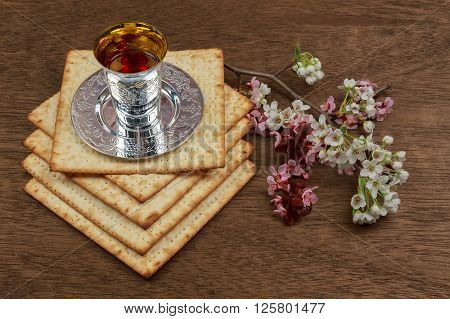 Pesach Still-life With Wine And Matzoh Jewish Passover Bread