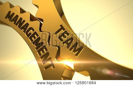 Team Management - Industrial Design. Team Management Golden Metallic Cogwheels. Team Management on Mechanism of Golden Metallic Cogwheels with Glow Effect. 3D.