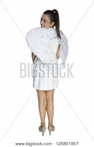 oung beautiful woman wearing angel wings on his back
