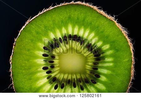 slice of kiwi fruit close-up on black background horizontal