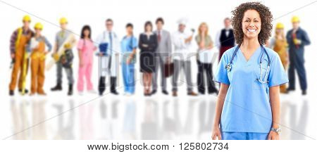 Smiling medical doctor over workers group.