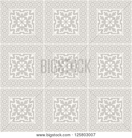 Floor tiles - seamless vintage pattern with cement tiles. Seamless vector background. Vector illustration.