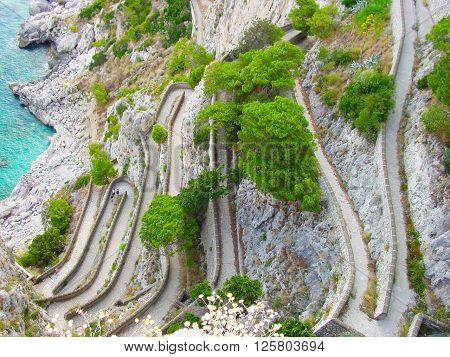 Top view to the curvy path on mountain