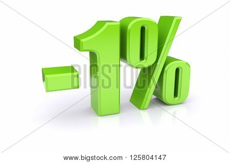 Green 1% percentage rate icon on a white background. 3d rendered image