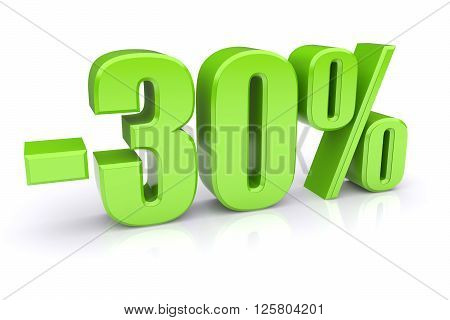 30% discount icon on a white background. 3d rendered image