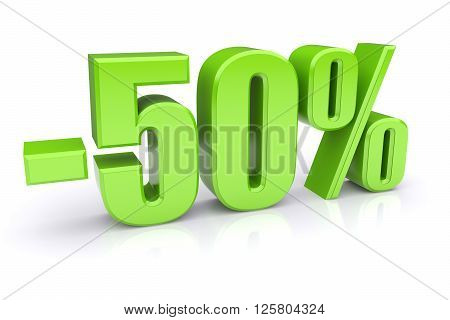 50% discount icon on a white background. 3d rendered image