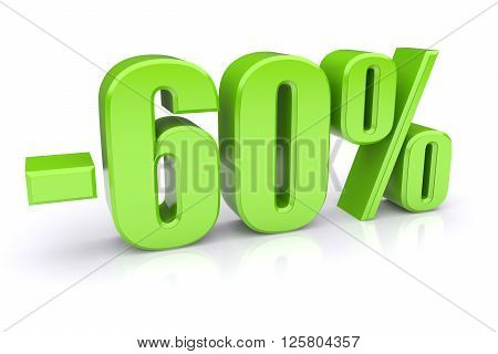 60% discount icon on a white background. 3d rendered image