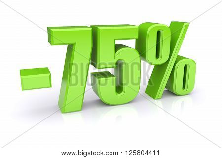 75% discount icon on a white background. 3d rendered image
