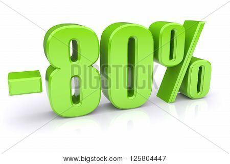 80% discount icon on a white background. 3d rendered image