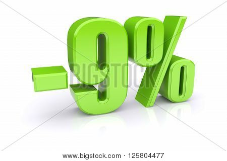 Green 9% percentage rate icon on a white background. 3d rendered image
