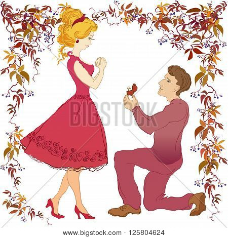 Marriage proposal vector cartoon love story boyfriend and his beloved. Man makes marriage proposal to girlfriend. Wedding ring with diamond. Marry me illustration. Happy young couple on white isolated