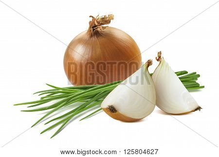 Yellow onion quarters green scallion isolated on white background as package design element