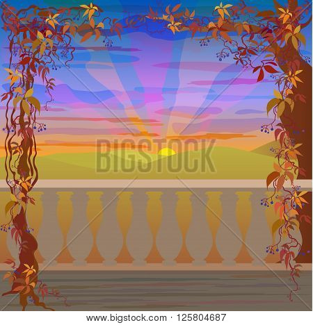 Red sunset over green hills. Romantic autumn landscape with grapevine border frame and balcony. Rural  green fields and sunrise sky vector Illustration.