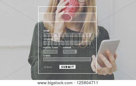 Account Profile Online Submit Concept