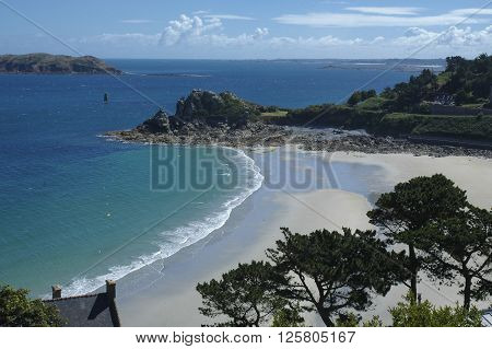 Perros-Guirec (Cotes-d'Armor Brittany France): the beach at summer