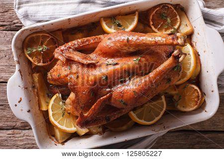Homemade Lemon Chicken In A Baking Dish Closeup. Horizontal Top View