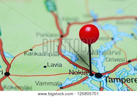Nokia pinned on a map of Finland