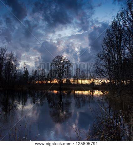 spring sunset on the river Luga, Novgorod oblast ,Russia