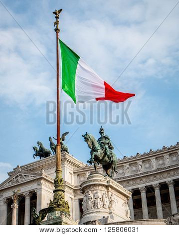 Italian flag upon the Monument to Vittorio Emanuelle II