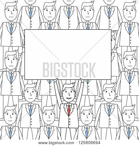 Happy businessman holding up blank placard standing in a homogeneous crowd.