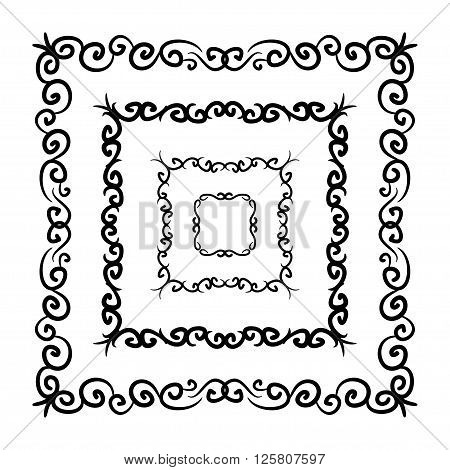 Frame Vector Set Hand Drawn Icons Illustration Black And White, Decorative Borders Collection