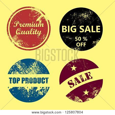 Premium quality, Big sale, Top product, Sale - Vintage and scratched badge set