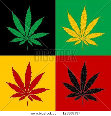 Illustration of marijuana leaf in four colors as the background.