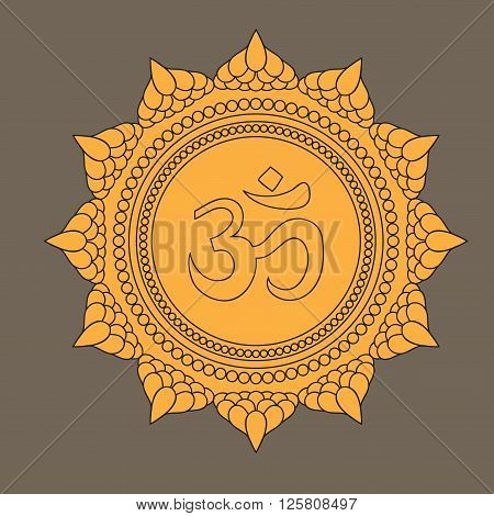 Beautiful detailed mandala with om sign. Vintage decorative elements of Mudra. Indian, Hindu motifs. Tattoo, yoga, spirituality, textiles