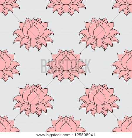 Beautiful detailed lined lotus flower. Vintage decorative elements. Indian, Hindu motifs seamless pattern