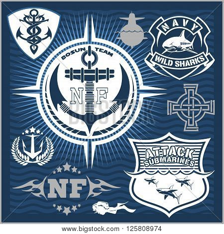 Set of military and naval forces badges and design elements. Vector illustration.