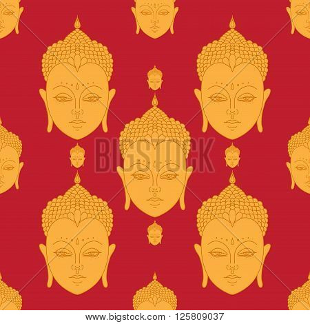 Beautiful detailed Head of Buddha. Vintage decorative elements. Indian Hindu motifs seamless pattern
