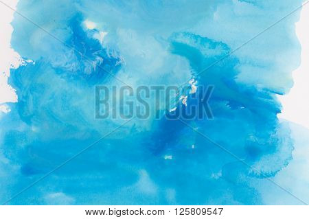 Blue Watercolors On Paper Texture - Background Design - Handpainted Element
