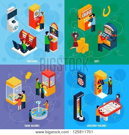 Claw crane and video games amusement slot machines 4 isometric icons square banner abstract isolated vector illustration