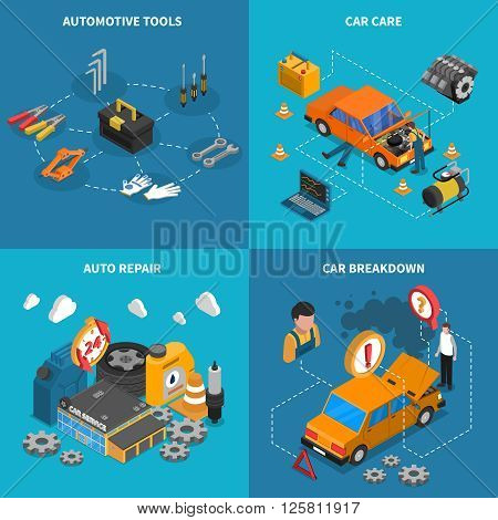 Isometric isolated icon set with different stages of service like car care breakdown vector illustration